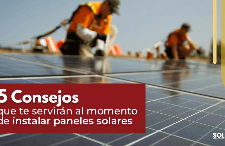 consejos para instalación de paneles solares